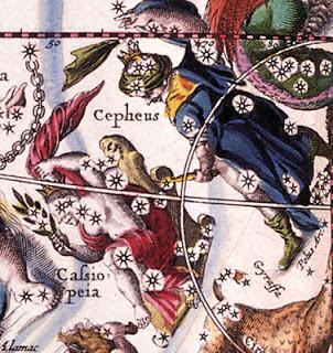 As Constelações de Cepheus , Cassiopeia e Lacerta